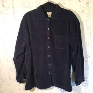 LL Bean Navy Corduroy Button Front Shirt Jacket